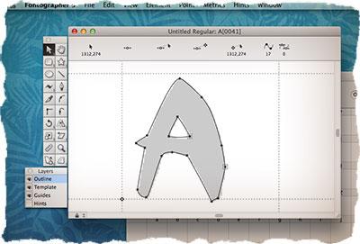 Fontographer - создание обводки символов
