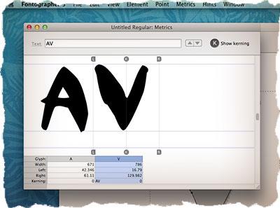 Fontographer - кернинг созданного шрифта