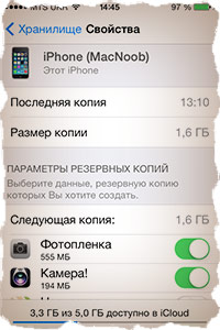 Данные хранимые в резервной копии iPhone
