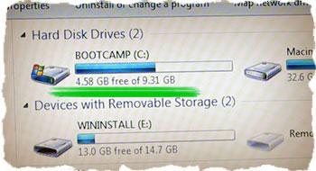 Установленная Windows 7 Lite заняла совсем немного места