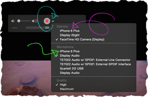 Запись экрана iPhone с помощью QuickTime