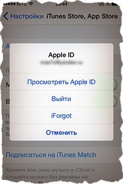 Прописать Apple ID для магазина AppStore