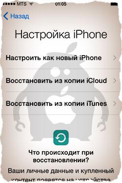 Первый запуск iPhone - Настройка