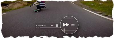 Нажимая на трекпад можно регулировать скорость перемотки в QuickTime