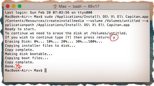 Создать загрузочную флешку с OS X через Терминал