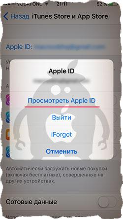 Просмотр Apple ID