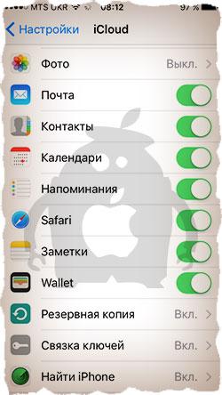 Настройка iCloud на iPhone