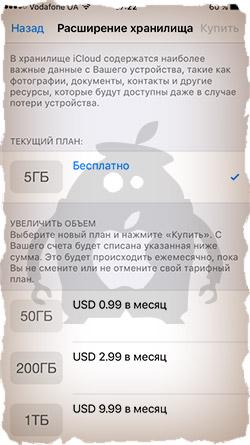 Расширение хранилища iCloud