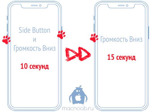 Активация режима DFU на iPhone XS