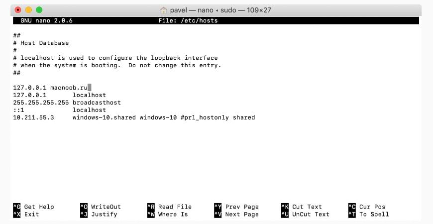 файл Hosts на macOS