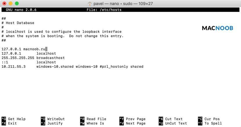 блокировка сайта в файле hosts на mac