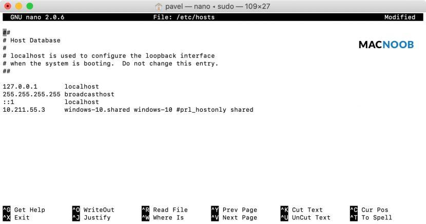 Сопоставление IP-адреса в текстовом редакторе Nano