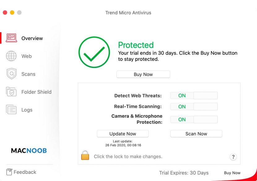 Trend Micro Antivirus главный экран