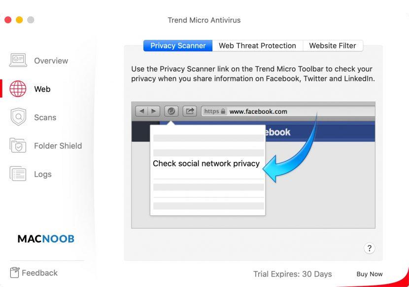 Trend Micro Antivirus веб-защита