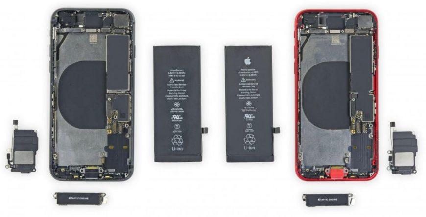 разобранные iPhone SE 2020 и iPhone 8