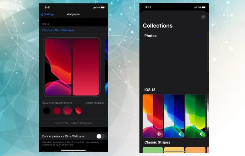 выбор обоев iOS 14