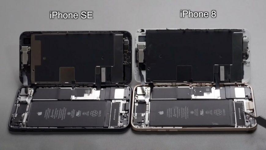 iPhone SE 2020 и iPhone 8 разобранные