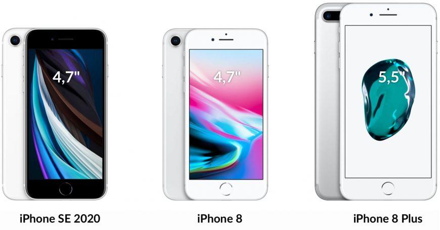 Сравнение дисплеев iPhone SE 2020, 8 и 8 Plus