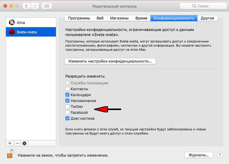 Ограничение доступа к данным пользователя