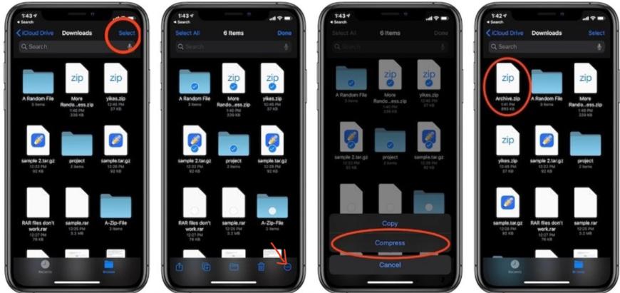 Создать zip архив на iOS и iPadOS