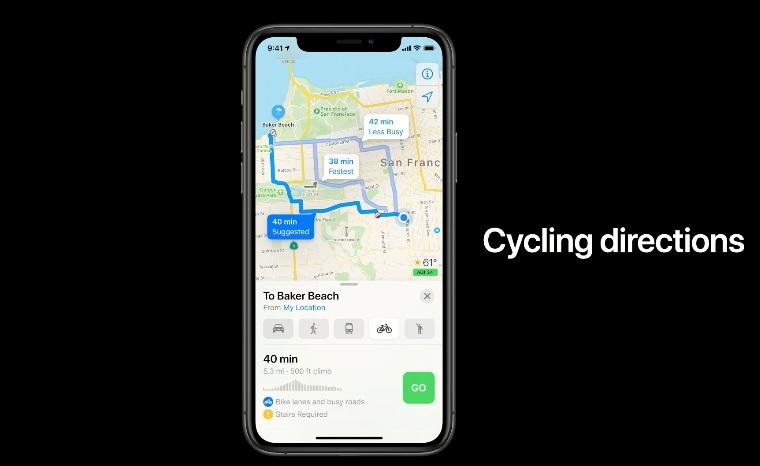 Cycling в Apple картах