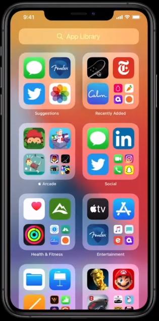 App Library группировка иконок