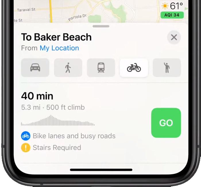 Езда на велосипеде карты Apple