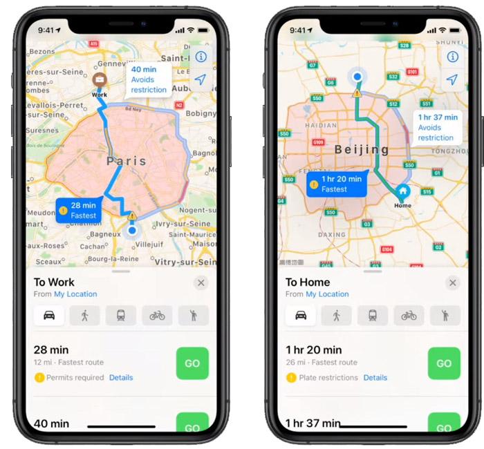 Маршрут на картах Apple