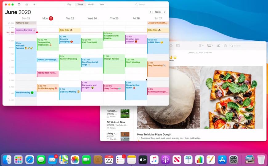 Big Sur: Календарь и Заметки