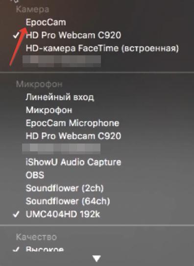 Выбор камеры EpocCam