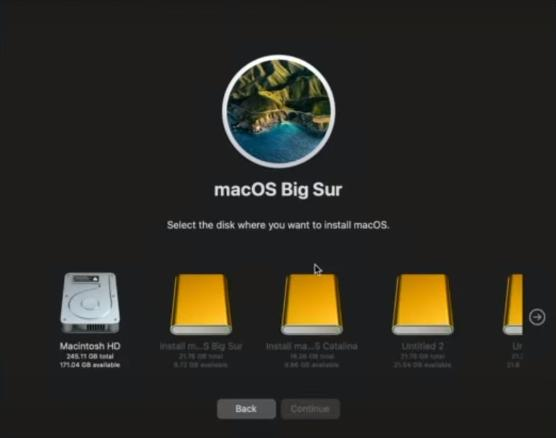 Выбор варианта установки macOS
