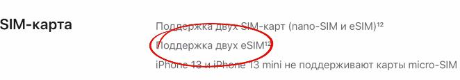 iPhone 13 поддержка Dual eSim