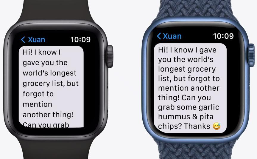 Apple Watch 7 текст на экране